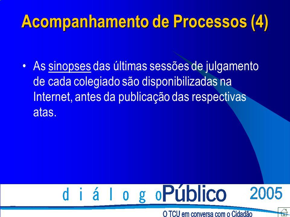 As sinopses das últimas sessões de julgamento de cada colegiado são disponibilizadas na Internet, antes da publicação das respectivas atas. Acompanham