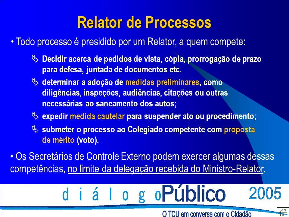 Relator de Processos Todo processo é presidido por um Relator, a quem compete: Decidir acerca de pedidos de vista, cópia, prorrogação de prazo para de