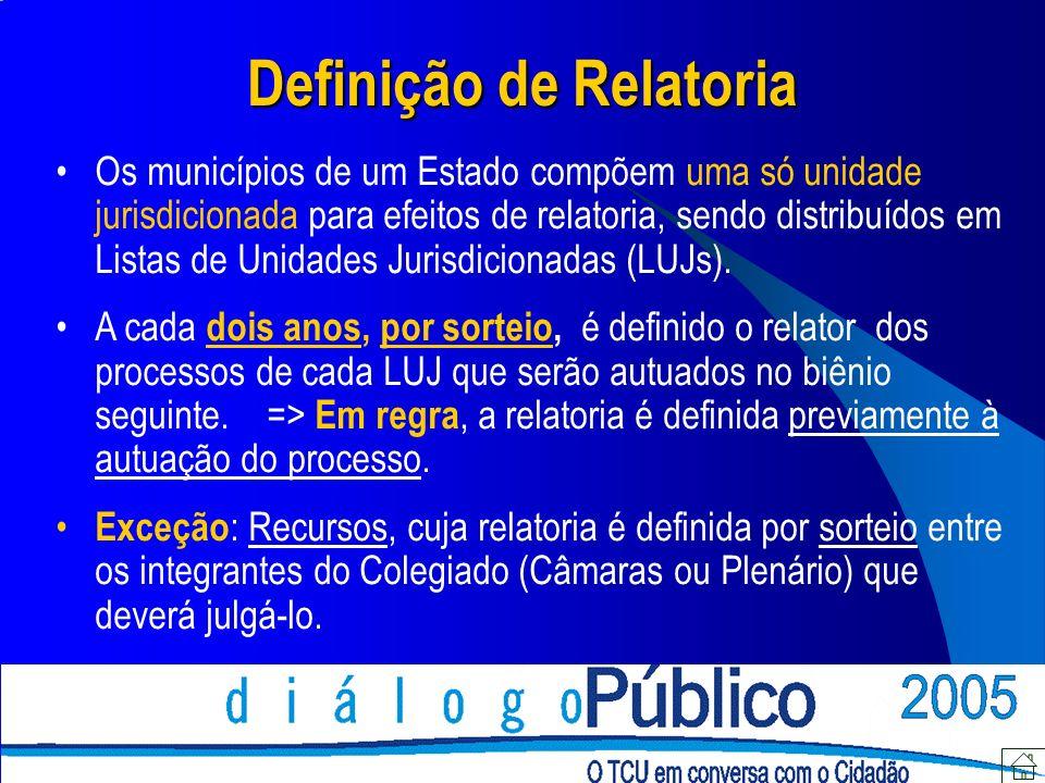 Definição de Relatoria Os municípios de um Estado compõem uma só unidade jurisdicionada para efeitos de relatoria, sendo distribuídos em Listas de Uni
