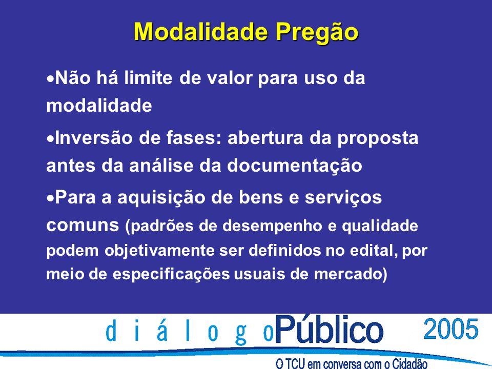 Modalidade Pregão Não há limite de valor para uso da modalidade Inversão de fases: abertura da proposta antes da análise da documentação Para a aquisi