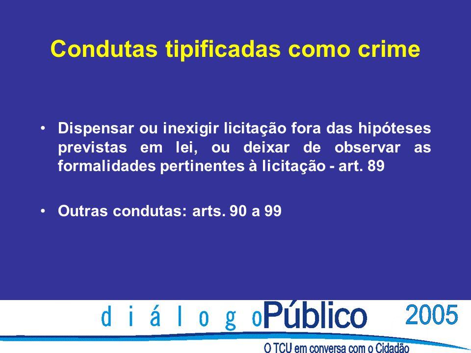 Condutas tipificadas como crime Dispensar ou inexigir licitação fora das hipóteses previstas em lei, ou deixar de observar as formalidades pertinentes