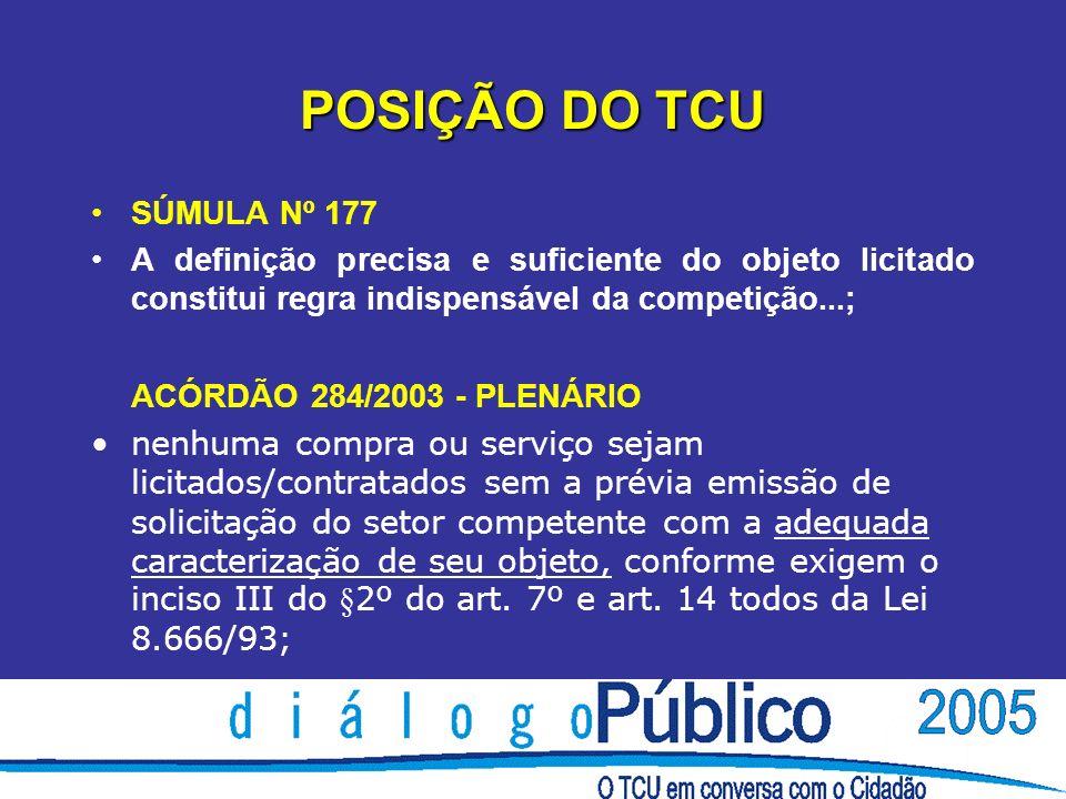 POSIÇÃO DO TCU SÚMULA Nº 177 A definição precisa e suficiente do objeto licitado constitui regra indispensável da competição...; ACÓRDÃO 284/2003 - PL