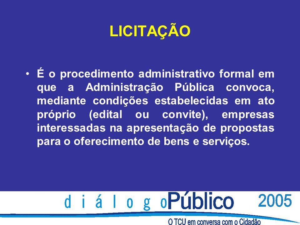 LICITAÇÃO É o procedimento administrativo formal em que a Administração Pública convoca, mediante condições estabelecidas em ato próprio (edital ou convite), empresas interessadas na apresentação de propostas para o oferecimento de bens e serviços.