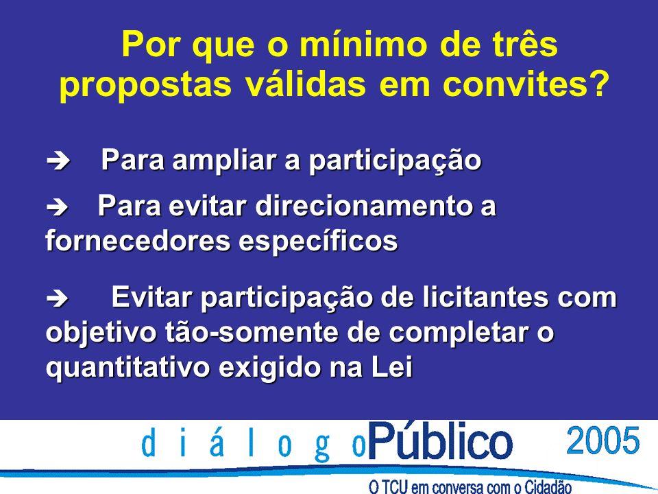 è Para ampliar a participação è Para evitar direcionamento a fornecedores específicos è Evitar participação de licitantes com objetivo tão-somente de