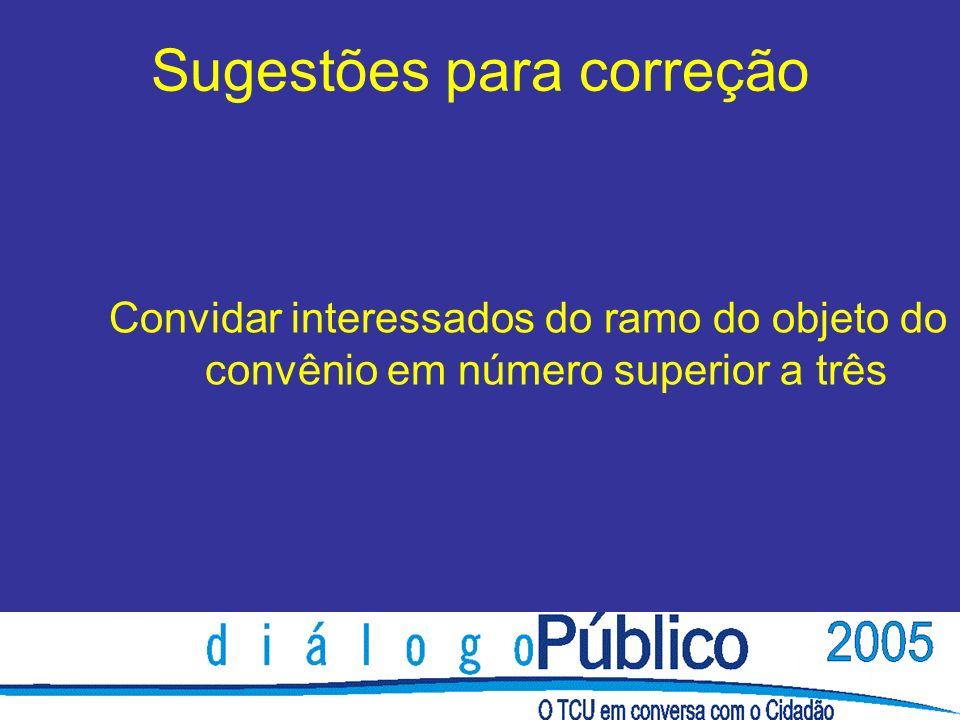 Sugestões para correção Convidar interessados do ramo do objeto do convênio em número superior a três