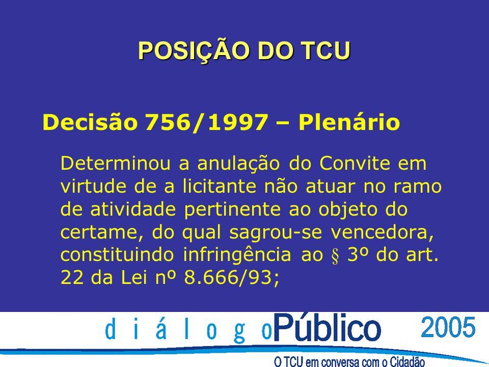 POSIÇÃO DO TCU Decisão 756/1997 – Plenário Determinou a anulação do Convite em virtude de a licitante não atuar no ramo de atividade pertinente ao obj