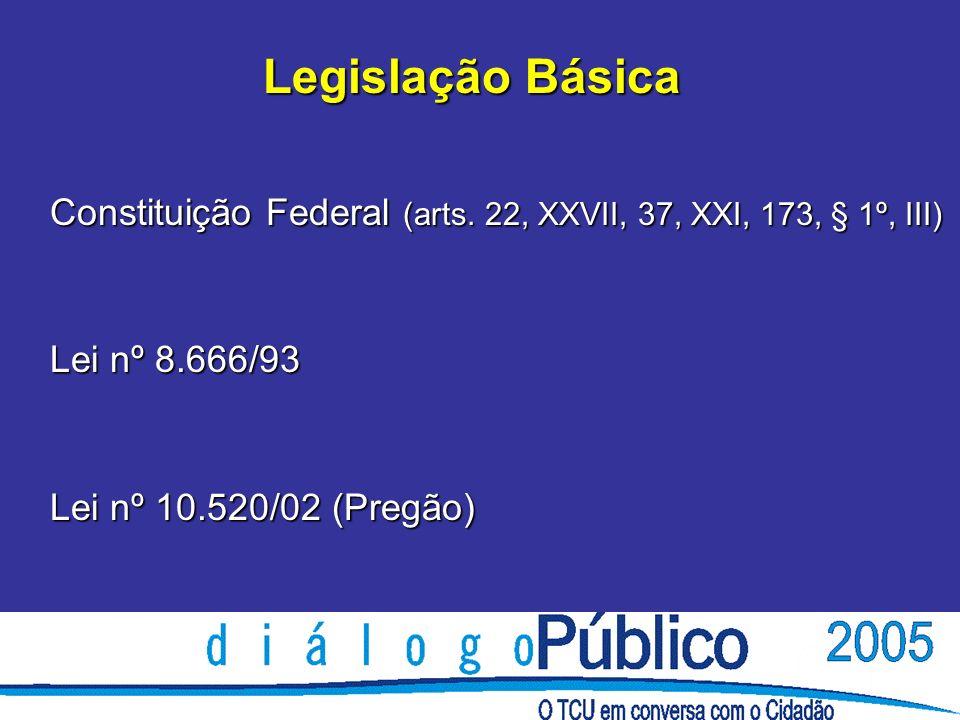 Legislação Básica Constituição Federal (arts. 22, XXVII, 37, XXI, 173, § 1º, III) Lei nº 8.666/93 Lei nº 10.520/02 (Pregão) Legislação Básica Constitu