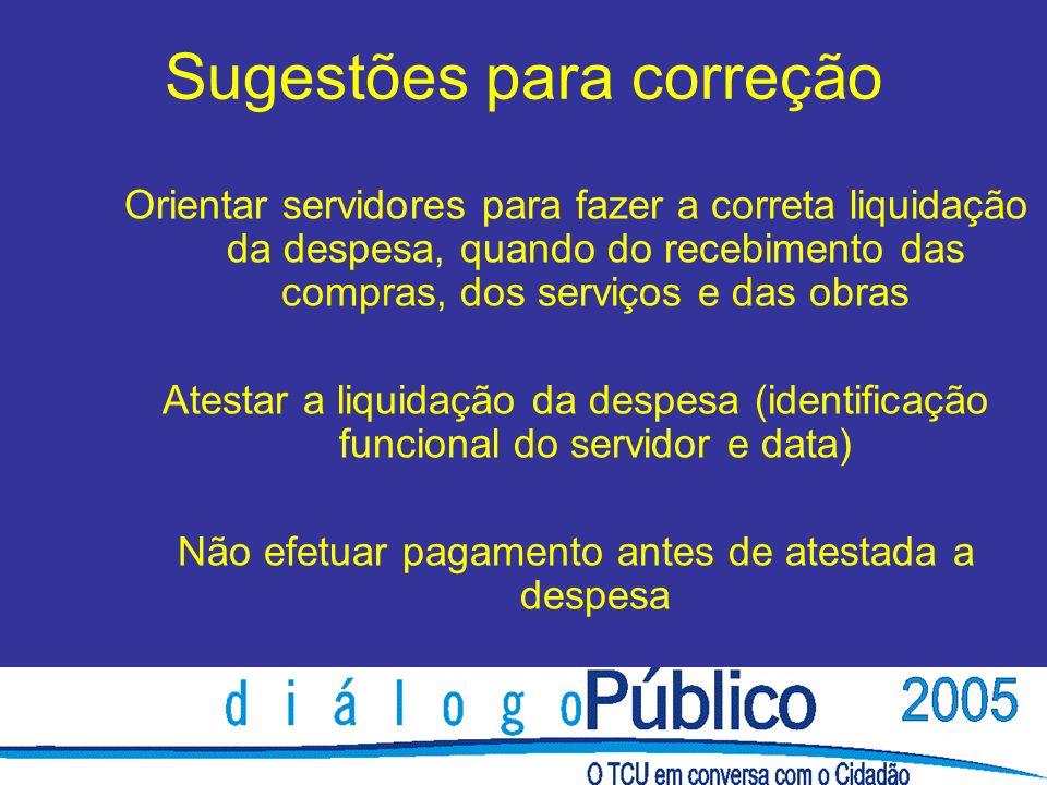 Sugestões para correção Orientar servidores para fazer a correta liquidação da despesa, quando do recebimento das compras, dos serviços e das obras At