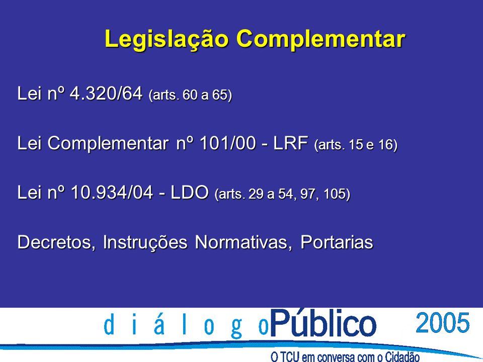 Legislação Complementar Lei nº 4.320/64 (arts. 60 a 65) Lei Complementar nº 101/00 - LRF (arts. 15 e 16) Lei nº 10.934/04 - LDO (arts. 29 a 54, 97, 10