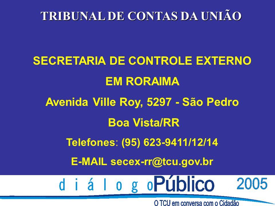 TRIBUNAL DE CONTAS DA UNIÃO SECRETARIA DE CONTROLE EXTERNO EM RORAIMA Avenida Ville Roy, 5297 - São Pedro Boa Vista/RR Telefones: (95) 623-9411/12/14