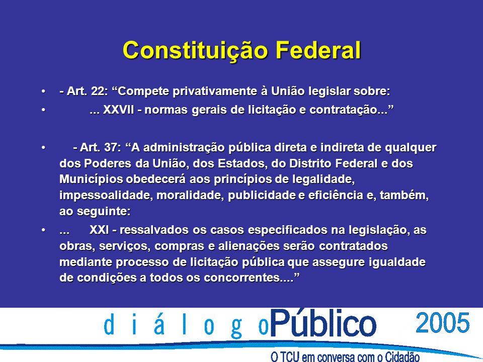 Constituição Federal - Art. 22: Compete privativamente à União legislar sobre:- Art.