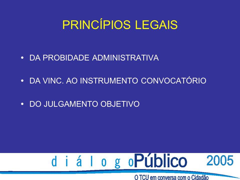 PRINCÍPIOS LEGAIS DA PROBIDADE ADMINISTRATIVA DA VINC.