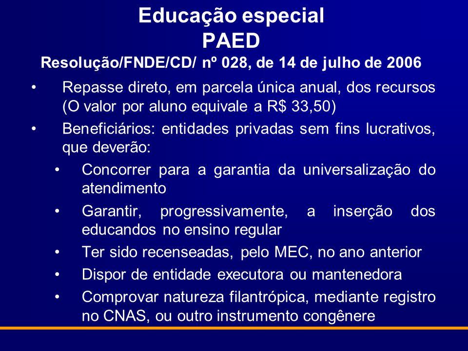Educação especial PAED Resolução/FNDE/CD/ nº 028, de 14 de julho de 2006 Repasse direto, em parcela única anual, dos recursos (O valor por aluno equiv