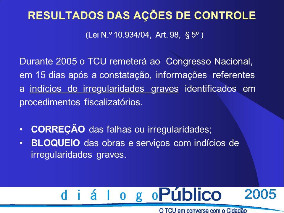 RESULTADOS DAS AÇÕES DE CONTROLE (Lei N.º 10.934/04, Art. 98, § 5º ) Durante 2005 o TCU remeterá ao Congresso Nacional, em 15 dias após a constatação,