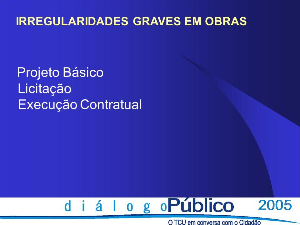 IRREGULARIDADES GRAVES EM OBRAS Projeto Básico Licitação Execução Contratual