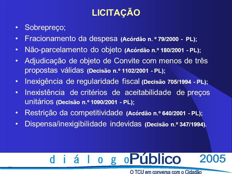EXECUÇÃO CONTRATUAL Superfaturamento; Acréscimo de valor contratual acima do limite de 25% ou 50% (Decisão n.º 877/2000 - PL); Deficiências da Fiscalização (Decisão n.º 1375/2002 - PL); Pagamento de serviço não executado (Decisão n.º 1375/2002 - PL); Execução de serviço não licitado (Decisão 860/1999 - PL); Aplicação de material inferior ao previsto (Decisão 863/1999 - PL); Reajustamento de preço irregular (Decisão 485/2000 - PL); Deficiências no licenciamento ambiental (Acórdão 1.074/2003 - PL); Ausência ou falhas nos recebimentos da obra.