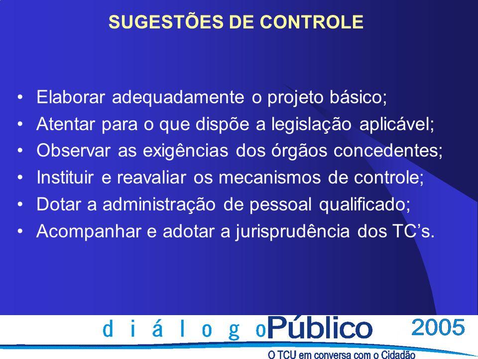 SUGESTÕES DE CONTROLE Elaborar adequadamente o projeto básico; Atentar para o que dispõe a legislação aplicável; Observar as exigências dos órgãos con
