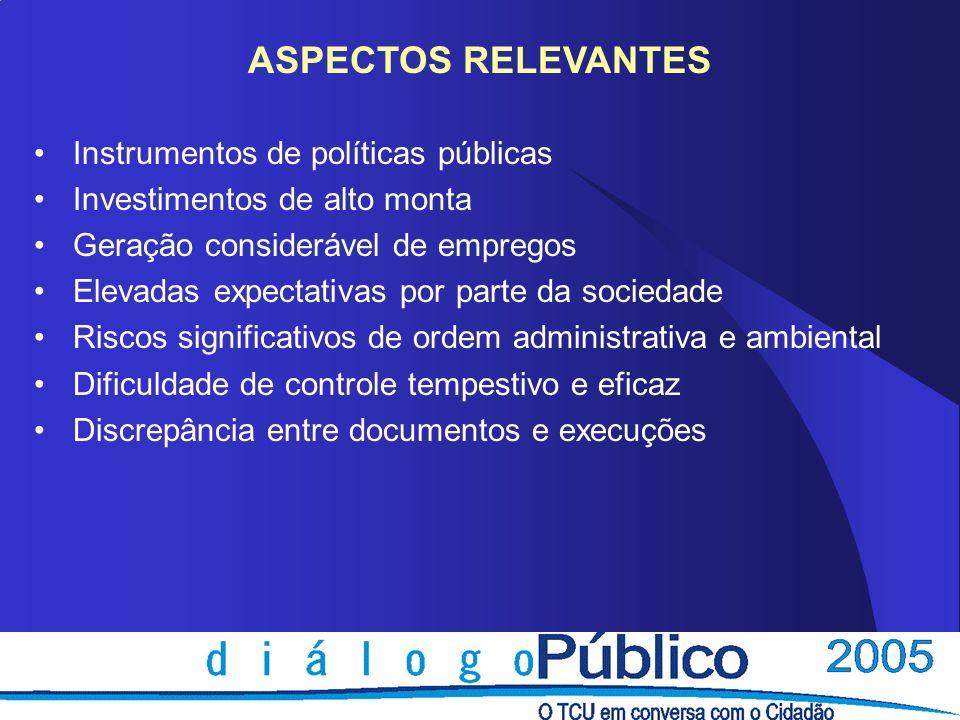 Instrumentos de políticas públicas Investimentos de alto monta Geração considerável de empregos Elevadas expectativas por parte da sociedade Riscos si