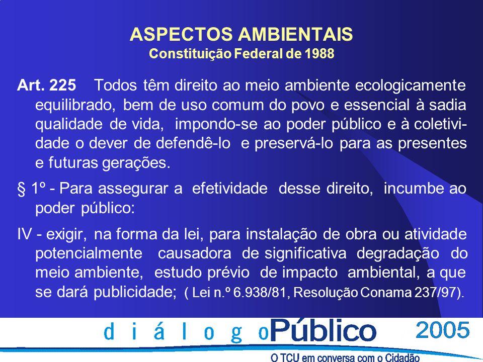 ASPECTOS AMBIENTAIS Constituição Federal de 1988 Art. 225 Todos têm direito ao meio ambiente ecologicamente equilibrado, bem de uso comum do povo e es