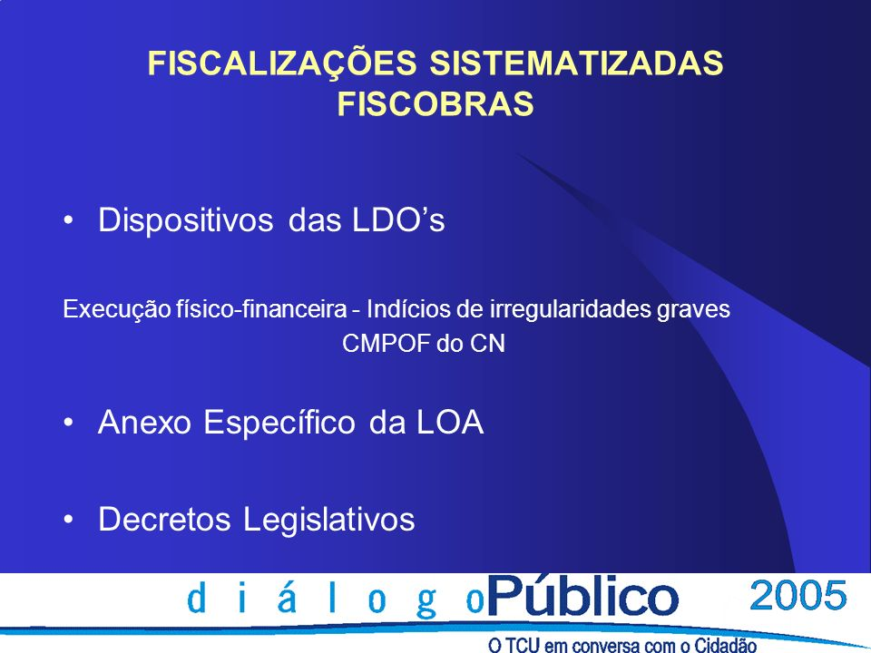FISCALIZAÇÕES SISTEMATIZADAS FISCOBRAS Dispositivos das LDOs Execução físico-financeira - Indícios de irregularidades graves CMPOF do CN Anexo Específ