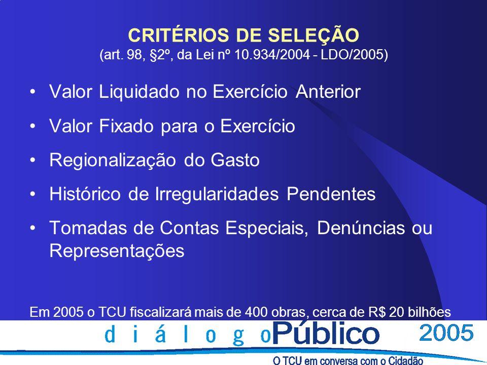 CRITÉRIOS DE SELEÇÃO (art. 98, §2º, da Lei nº 10.934/2004 - LDO/2005) Valor Liquidado no Exercício Anterior Valor Fixado para o Exercício Regionalizaç