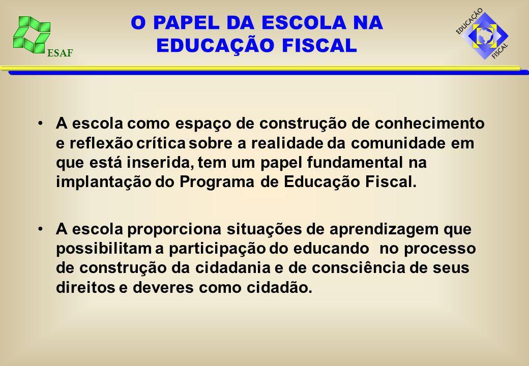 ESAF A escola como espaço de construção de conhecimento e reflexão crítica sobre a realidade da comunidade em que está inserida, tem um papel fundamental na implantação do Programa de Educação Fiscal.