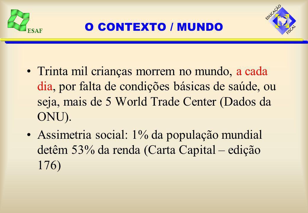 ESAF O CONTEXTO / MUNDO Trinta mil crianças morrem no mundo, a cada dia, por falta de condições básicas de saúde, ou seja, mais de 5 World Trade Center (Dados da ONU).