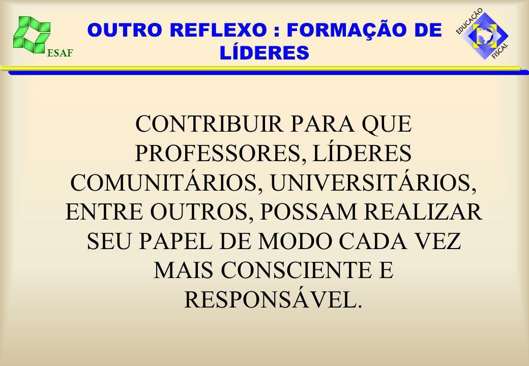 ESAF OUTRO REFLEXO : FORMAÇÃO DE LÍDERES CONTRIBUIR PARA QUE PROFESSORES, LÍDERES COMUNITÁRIOS, UNIVERSITÁRIOS, ENTRE OUTROS, POSSAM REALIZAR SEU PAPEL DE MODO CADA VEZ MAIS CONSCIENTE E RESPONSÁVEL.
