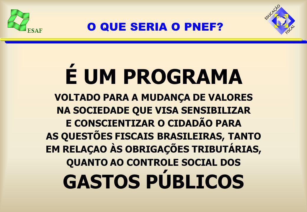 ESAF O PNEF tem os seguintes objetivos:GERAL: Promover e institucionalizar a educação fiscal para o pleno exercício da cidadania.ESPECÍFICOS: - Levar conhecimentos sobre administração pública aos cidadãos.