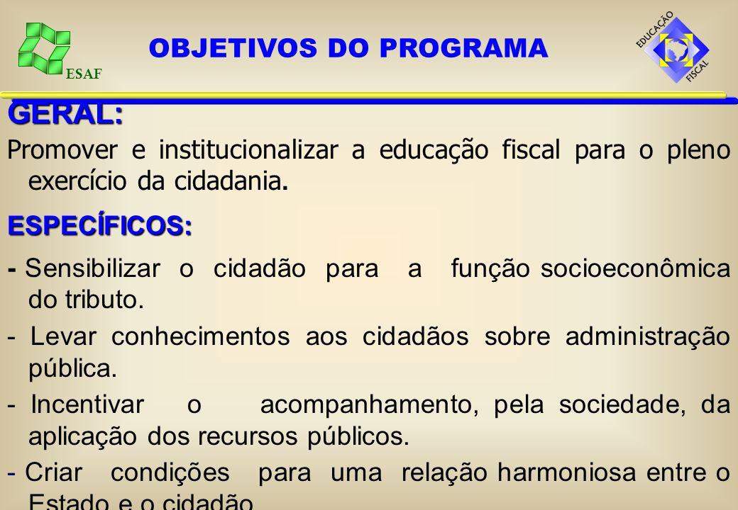 ESAF GERAL: Promover e institucionalizar a educação fiscal para o pleno exercício da cidadania.ESPECÍFICOS: - Sensibilizar o cidadão para a função socioeconômica do tributo.
