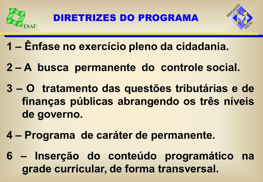 ESAF 1 – Ênfase no exercício pleno da cidadania. 2 – A busca permanente do controle social.