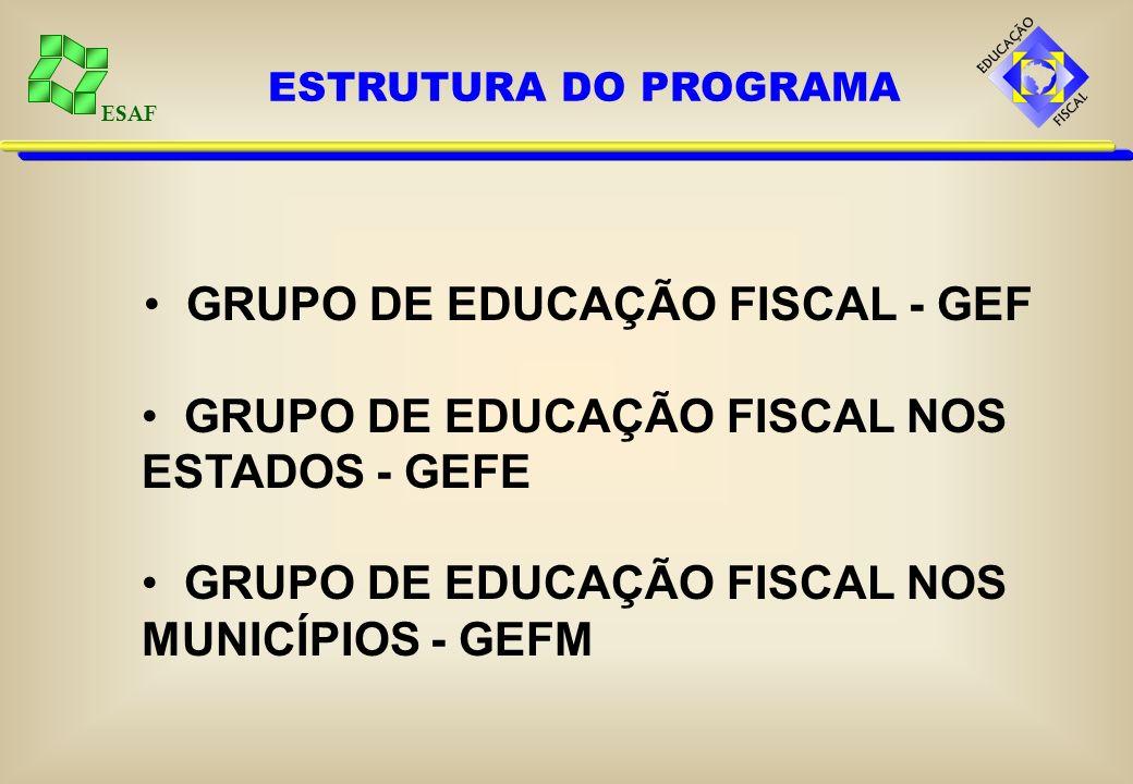 ESAF ESTRUTURA DO PROGRAMA GRUPO DE EDUCAÇÃO FISCAL - GEF GRUPO DE EDUCAÇÃO FISCAL NOS ESTADOS - GEFE GRUPO DE EDUCAÇÃO FISCAL NOS MUNICÍPIOS - GEFM