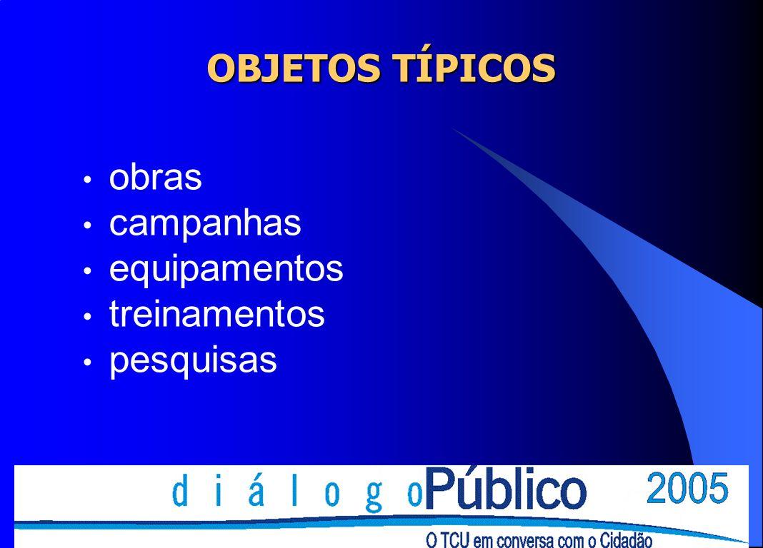 OBJETOS TÍPICOS obras campanhas equipamentos treinamentos pesquisas