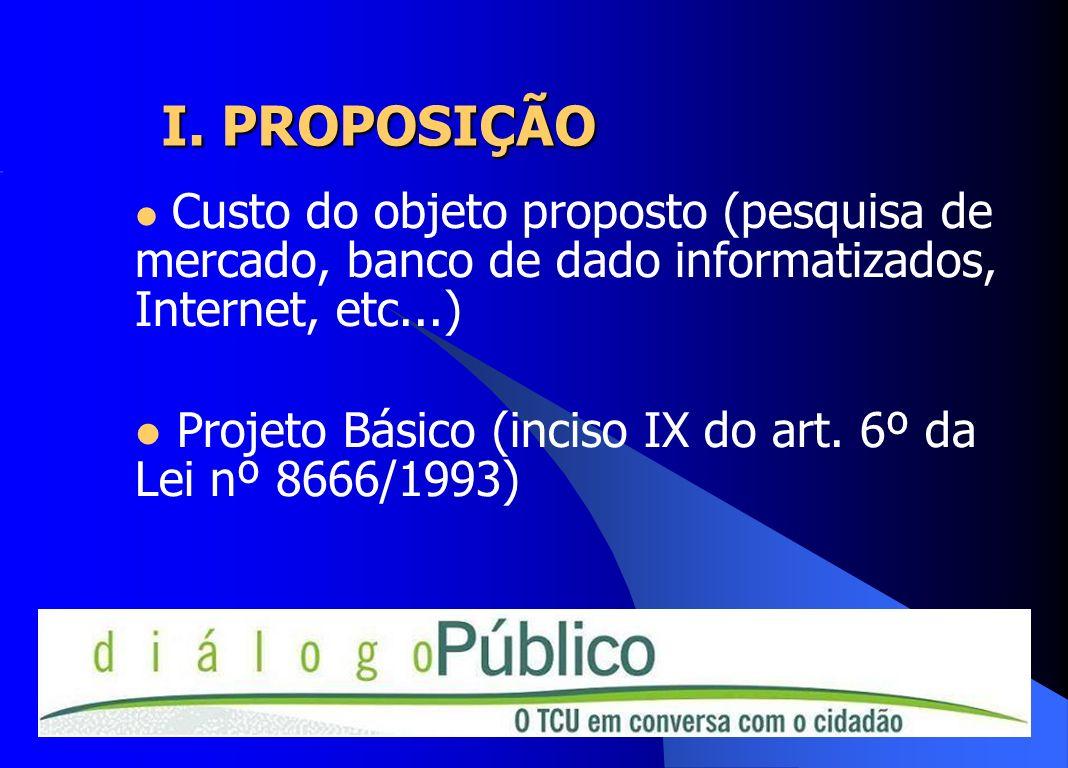 I. PROPOSIÇÃO Custo do objeto proposto (pesquisa de mercado, banco de dado informatizados, Internet, etc...) Projeto Básico (inciso IX do art. 6º da L