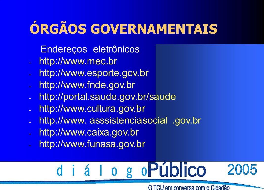 ÓRGÃOS GOVERNAMENTAIS Endereços eletrônicos - http://www.mec.br - http://www.esporte.gov.br - http://www.fnde.gov.br - http://portal.saude.gov.br/saud