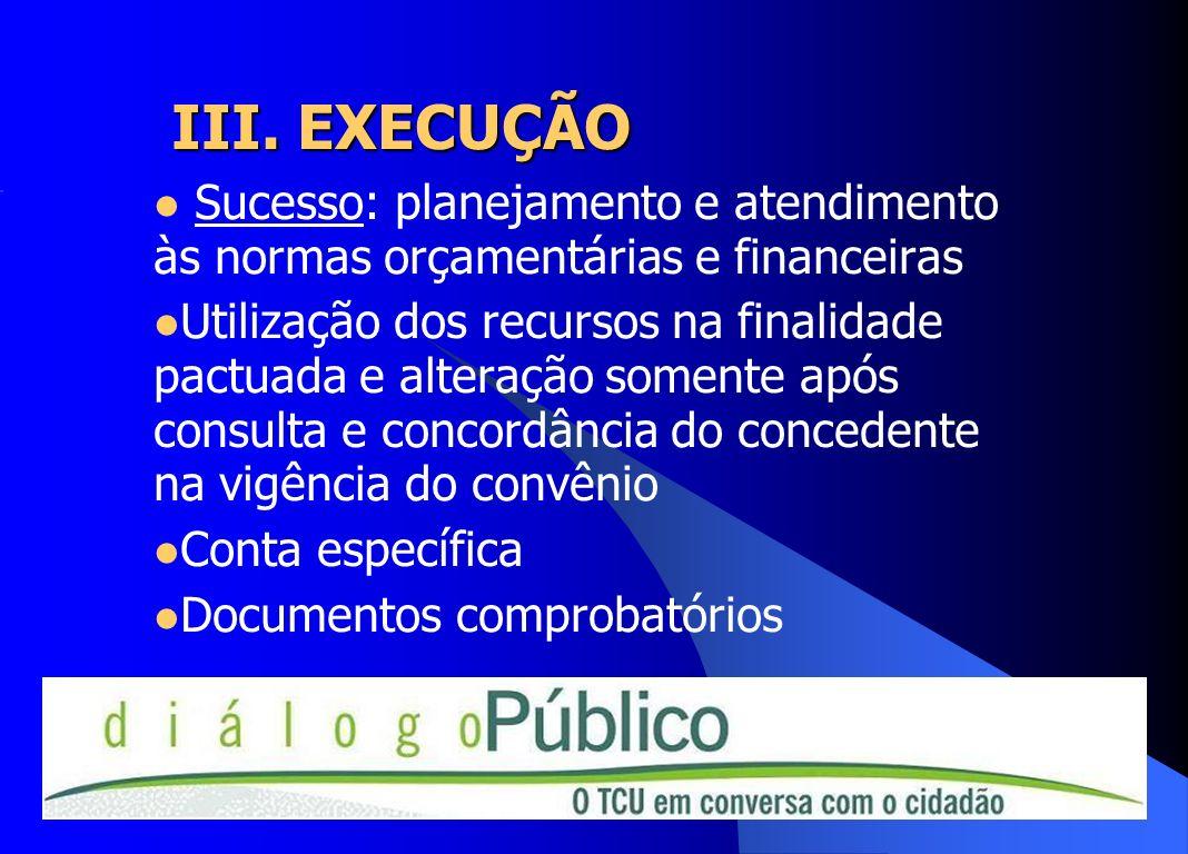 III. EXECUÇÃO Sucesso: planejamento e atendimento às normas orçamentárias e financeiras Utilização dos recursos na finalidade pactuada e alteração som