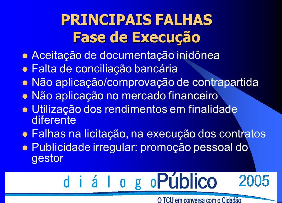 Aceitação de documentação inidônea Falta de conciliação bancária Não aplicação/comprovação de contrapartida Não aplicação no mercado financeiro Utiliz