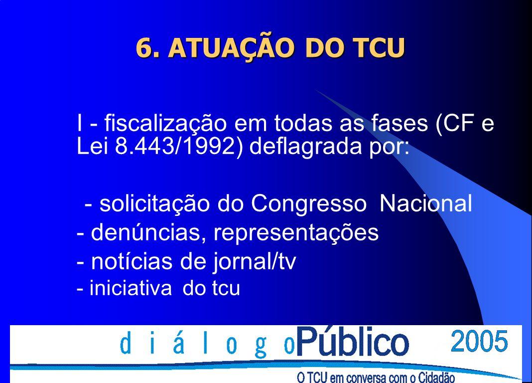 6. ATUAÇÃO DO TCU I - fiscalização em todas as fases (CF e Lei 8.443/1992) deflagrada por: - solicitação do Congresso Nacional - denúncias, representa