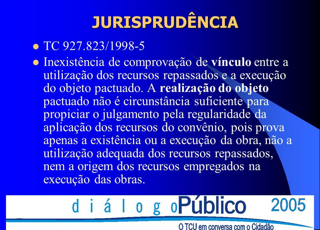 JURISPRUDÊNCIA TC 927.823/1998-5 Inexistência de comprovação de vínculo entre a utilização dos recursos repassados e a execução do objeto pactuado. A