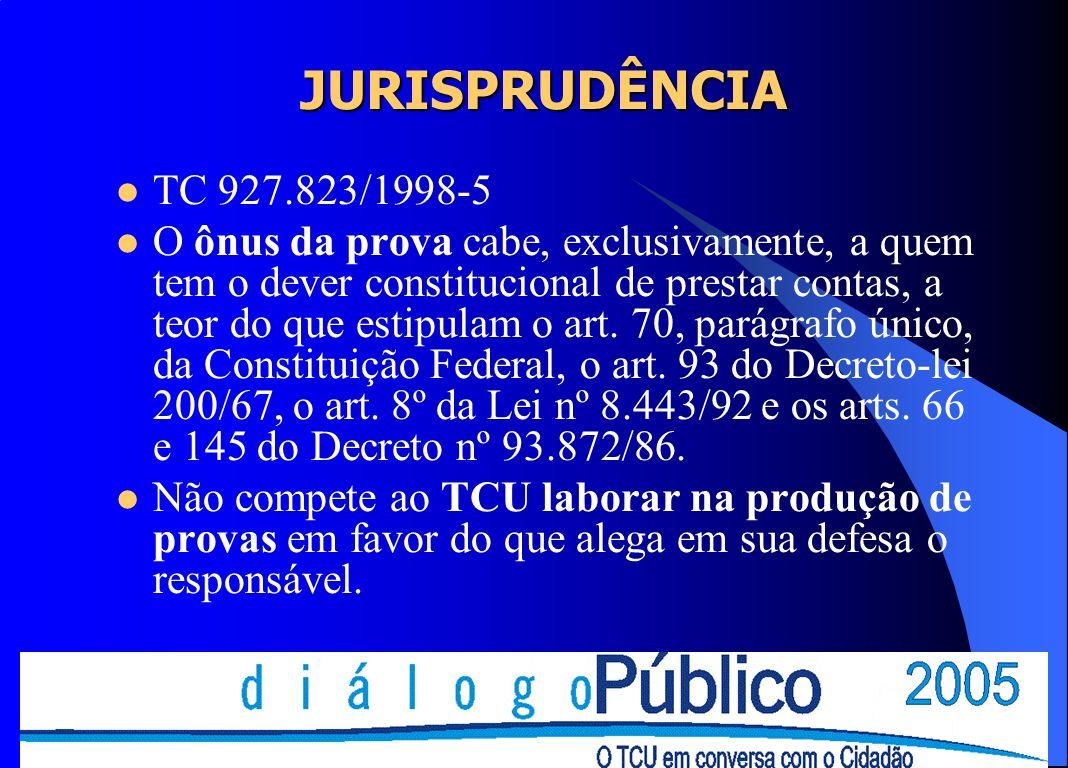 JURISPRUDÊNCIA TC 927.823/1998-5 O ônus da prova cabe, exclusivamente, a quem tem o dever constitucional de prestar contas, a teor do que estipulam o