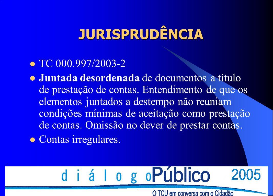 JURISPRUDÊNCIA TC 000.997/2003-2 Juntada desordenada de documentos a título de prestação de contas. Entendimento de que os elementos juntados a destem