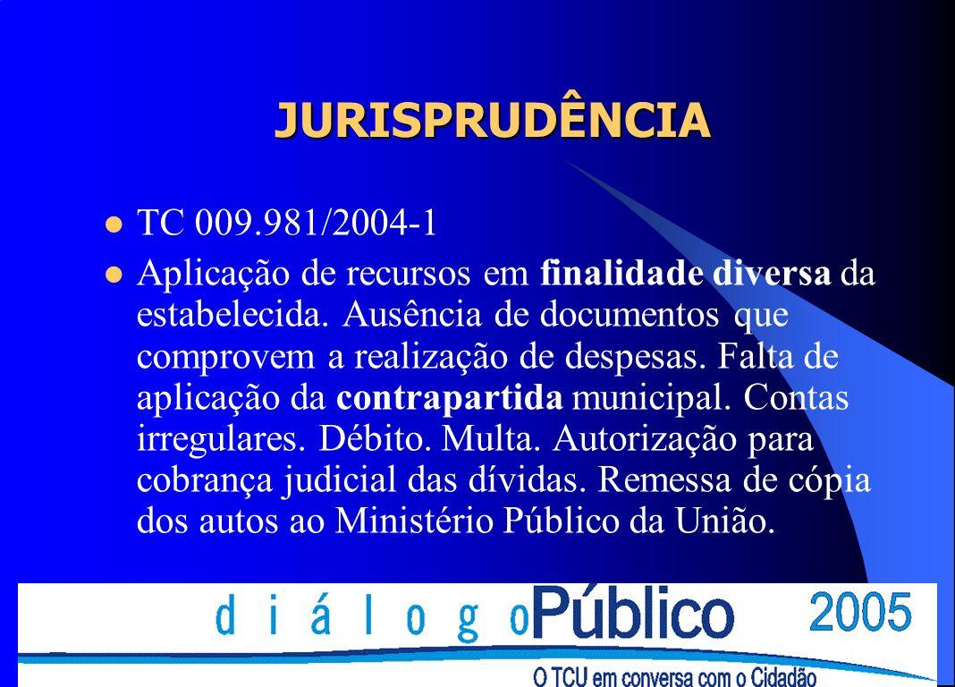 JURISPRUDÊNCIA TC 009.981/2004-1 Aplicação de recursos em finalidade diversa da estabelecida. Ausência de documentos que comprovem a realização de des