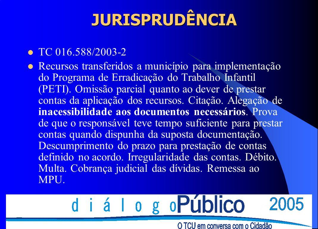 JURISPRUDÊNCIA TC 016.588/2003-2 Recursos transferidos a município para implementação do Programa de Erradicação do Trabalho Infantil (PETI). Omissão
