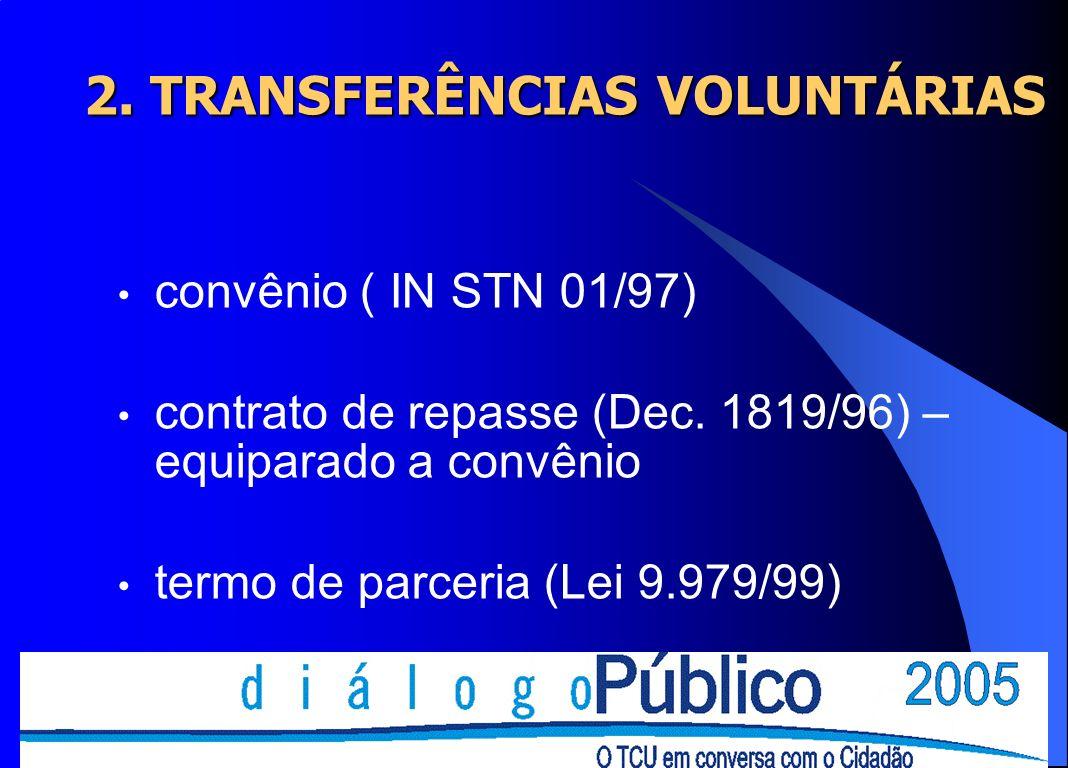 2. TRANSFERÊNCIAS VOLUNTÁRIAS convênio ( IN STN 01/97) contrato de repasse (Dec. 1819/96) – equiparado a convênio termo de parceria (Lei 9.979/99)