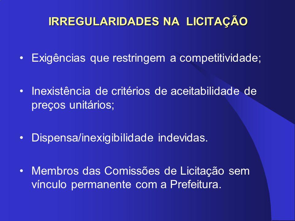 IRREGULARIDADES NA LICITAÇÃO Exigências que restringem a competitividade; Inexistência de critérios de aceitabilidade de preços unitários; Dispensa/in