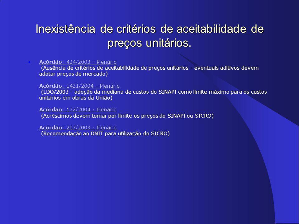 Acórdão: 424/2003 - Plenário (Ausência de critérios de aceitabilidade de preços unitários - eventuais aditivos devem adotar preços de mercado) Acórdão