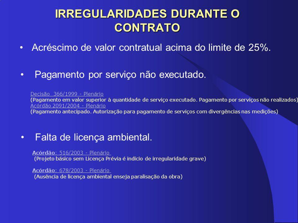 IRREGULARIDADES DURANTE O CONTRATO Acréscimo de valor contratual acima do limite de 25%. Acórdão: 516/2003 - Plenário Acórdão: 516/2003 - Plenário (Pr