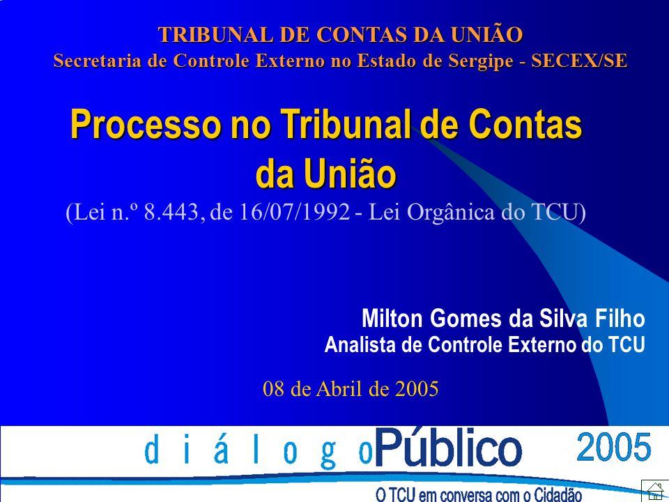 Processo no Tribunal de Contas da União (Lei n.º 8.443, de 16/07/1992 - Lei Orgânica do TCU) Milton Gomes da Silva Filho Analista de Controle Externo do TCU 08 de Abril de 2005 TRIBUNAL DE CONTAS DA UNIÃO Secretaria de Controle Externo no Estado de Sergipe - SECEX/SE