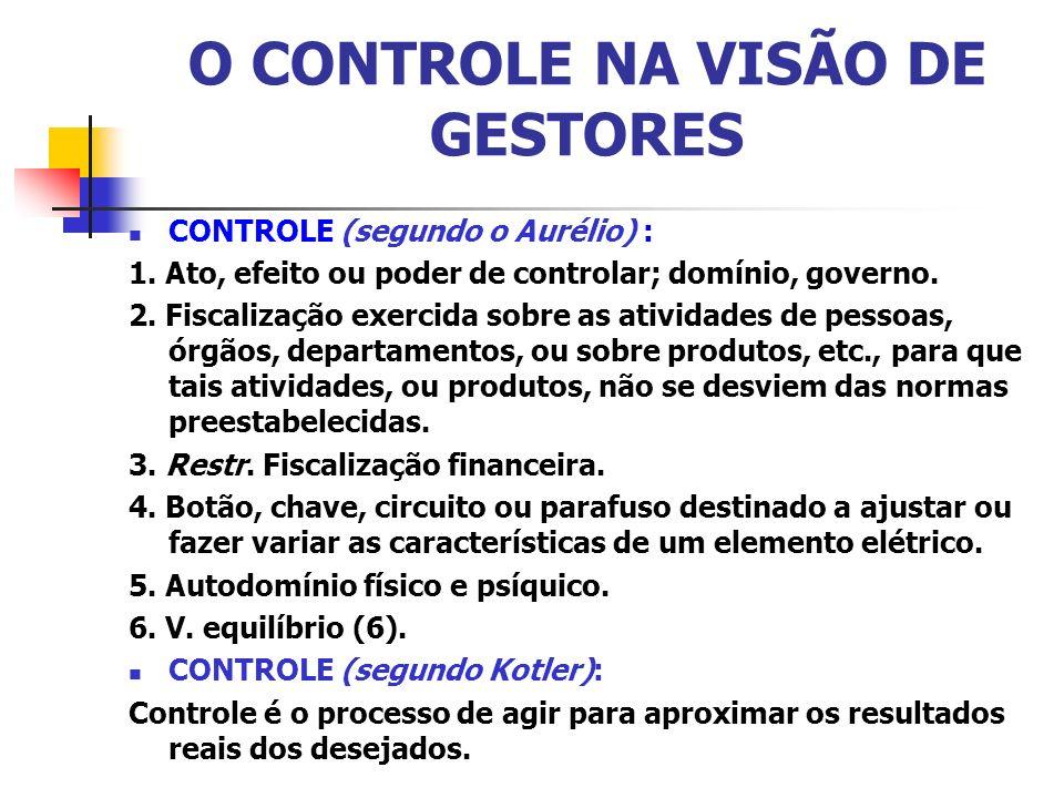 O CONTROLE NA VISÃO DE GESTORES CONTROLE (segundo o Aurélio) : 1. Ato, efeito ou poder de controlar; domínio, governo. 2. Fiscalização exercida sobre