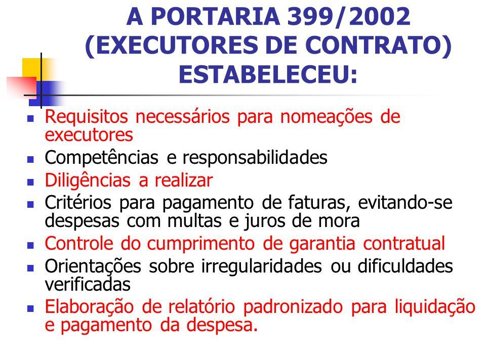 A PORTARIA 399/2002 (EXECUTORES DE CONTRATO) ESTABELECEU: Requisitos necessários para nomeações de executores Competências e responsabilidades Diligên